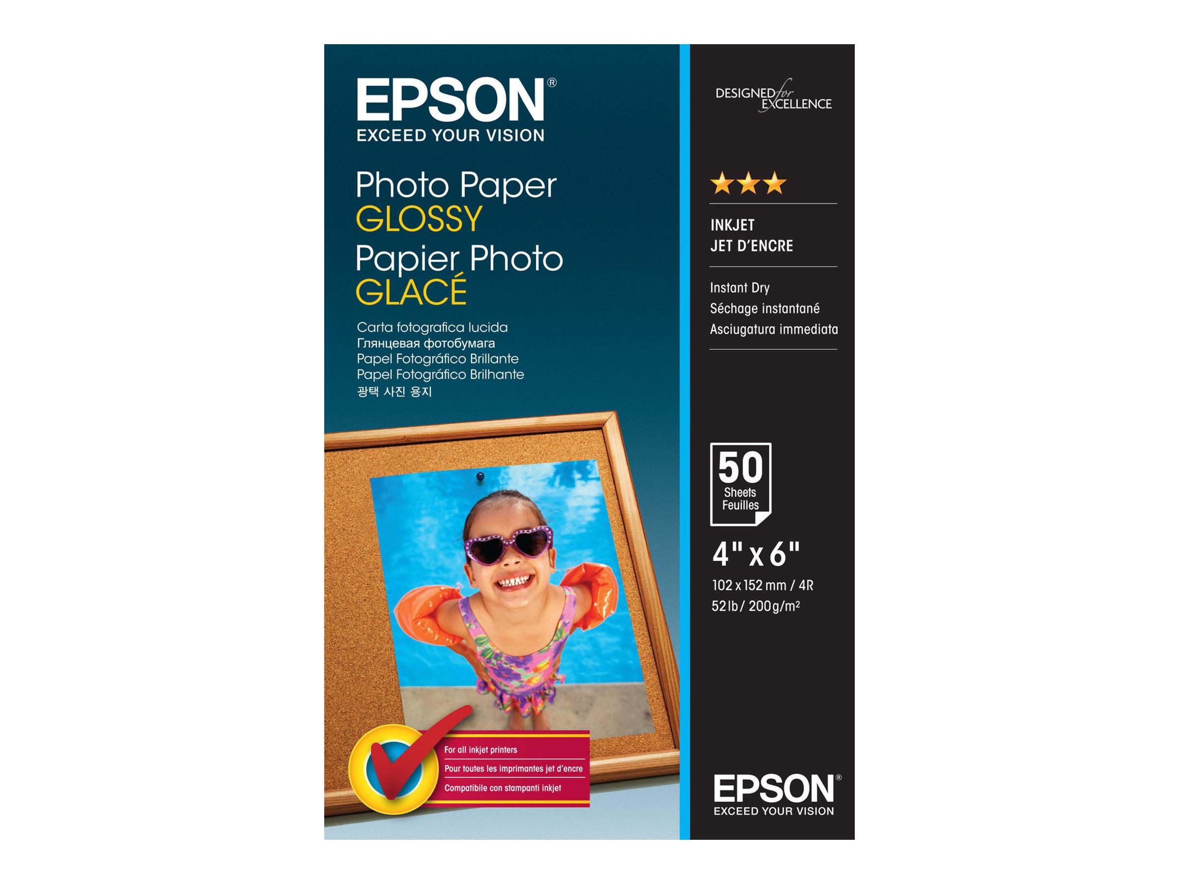 Epson - Glänzend - 102 x 152 mm - 200 g/m² - 50 Blatt Fotopapier - für EcoTank ET-1110, 2751, 2756; WorkForce ET-4700, WF-7725;