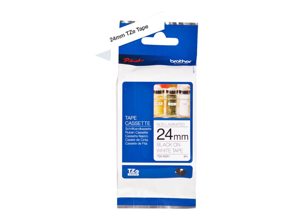 Brother TZeN251 - Schwarz auf Weiss - Rolle (2,4 cm x 8 m) 1 Rolle(n) nicht-laminiertes Schriftband - für P-Touch PT-D800, E550,