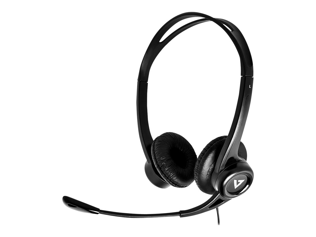 V7 Essentials - Headset - On-Ear - kabelgebunden - USB - Schwarz