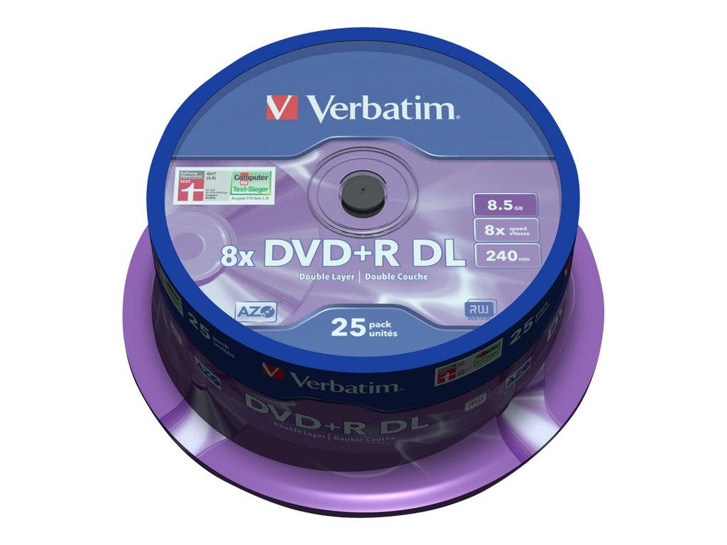 Verbatim - 25 x DVD+R DL - 8.5 GB 8x - mattsilber - Spindel
