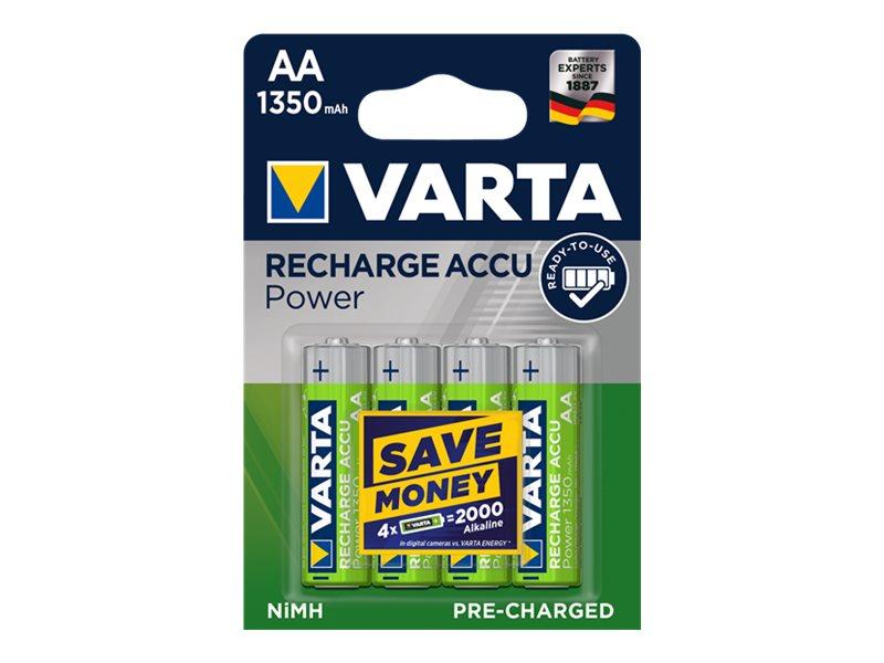 Varta - Batterie AA-Typ - NiMH - (wiederaufladbar) - 1350 mAh (Packung mit 4)