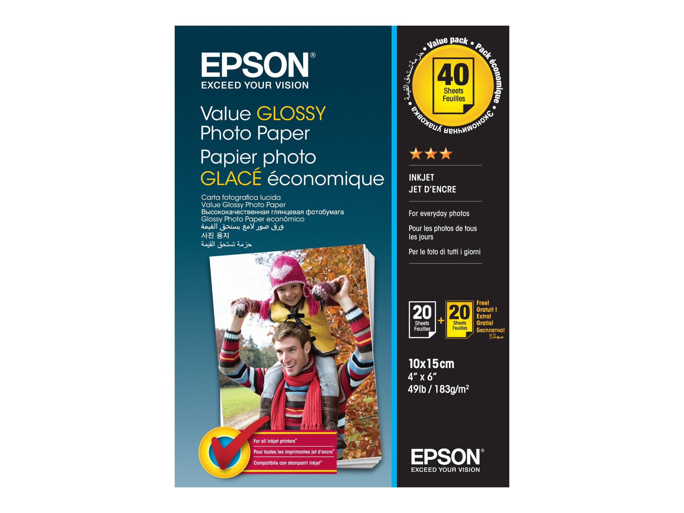 Epson Value Photo Paper Glossy - Glänzend - 100 x 150 mm 20 Blatt Fotopapier (Packung mit 2) - für Expression Home HD XP-15000;