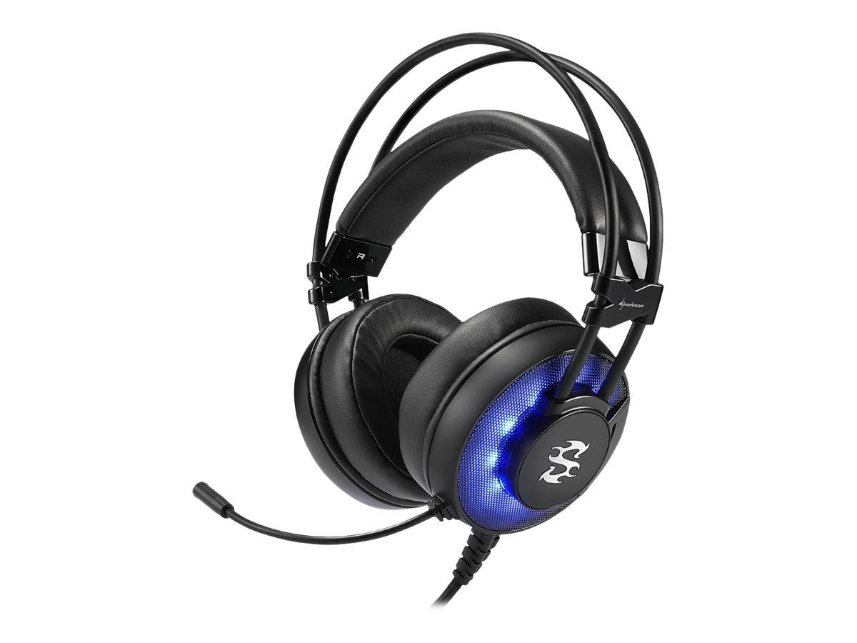 Sharkoon SKILLER SGH2 - Headset - ohrumschliessend - kabelgebunden - USB - Blue Illumination, Komplett Schwarz