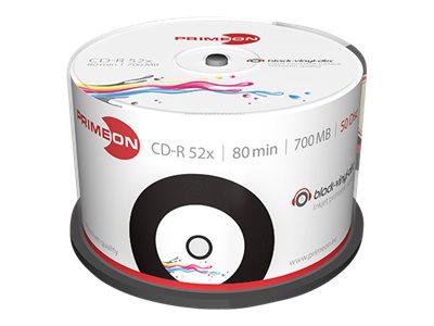 Primeon - 50 x CD-R - 700 MB (80 Min) 52x - Schwarz - mit Tintenstrahldrucker bedruckbare Oberfläche - Spindel