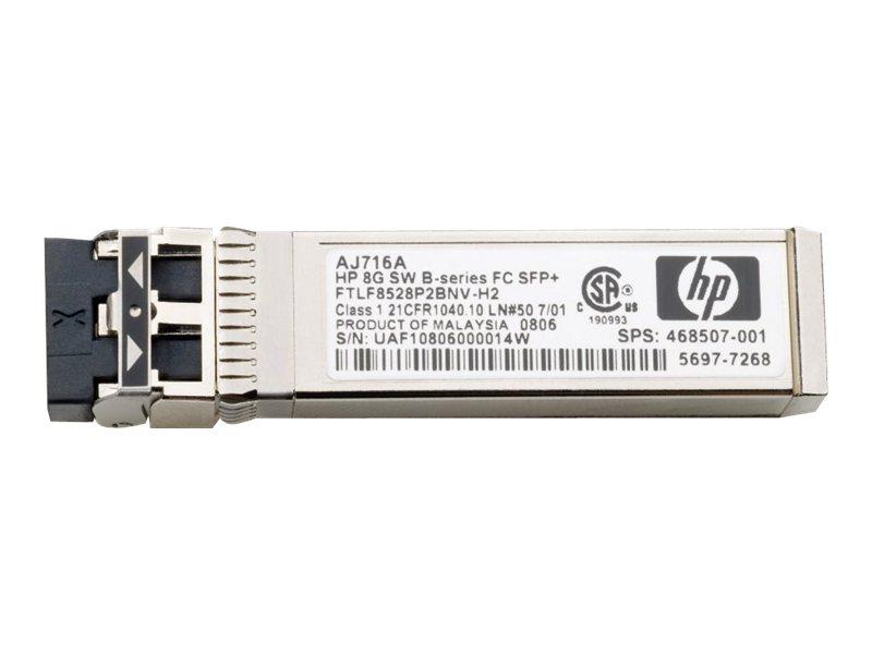 HPE - SFP+-Transceiver-Modul - 8-Gb-Fibre Channel (ELW) - Fibre Channel - bis zu 25 km - für Brocade 16Gb/12, 16Gb/24; HPE 8/24,