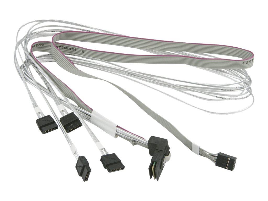 Supermicro - SATA- / SAS-Kabel - mit Sidebands - Mini SAS (SFF-8087) (M) bis SATA, Seitenband (W) - 75 cm - rechts-gewinkelter S
