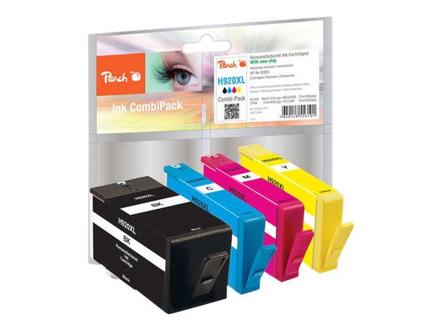 Peach - 4er-Pack - Schwarz, Gelb, Cyan, Magenta - Tintenpatrone (Alternative zu: HP 920XL) - für HP Officejet 6000, 6000 E609a,