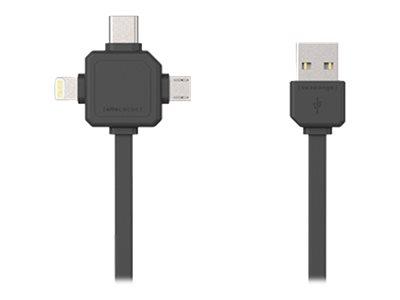 Allocacoc - Lightning-Kabel - USB (M) bis Micro-USB Typ B, Lightning, USB-C (M) - 1.5 m - Grau