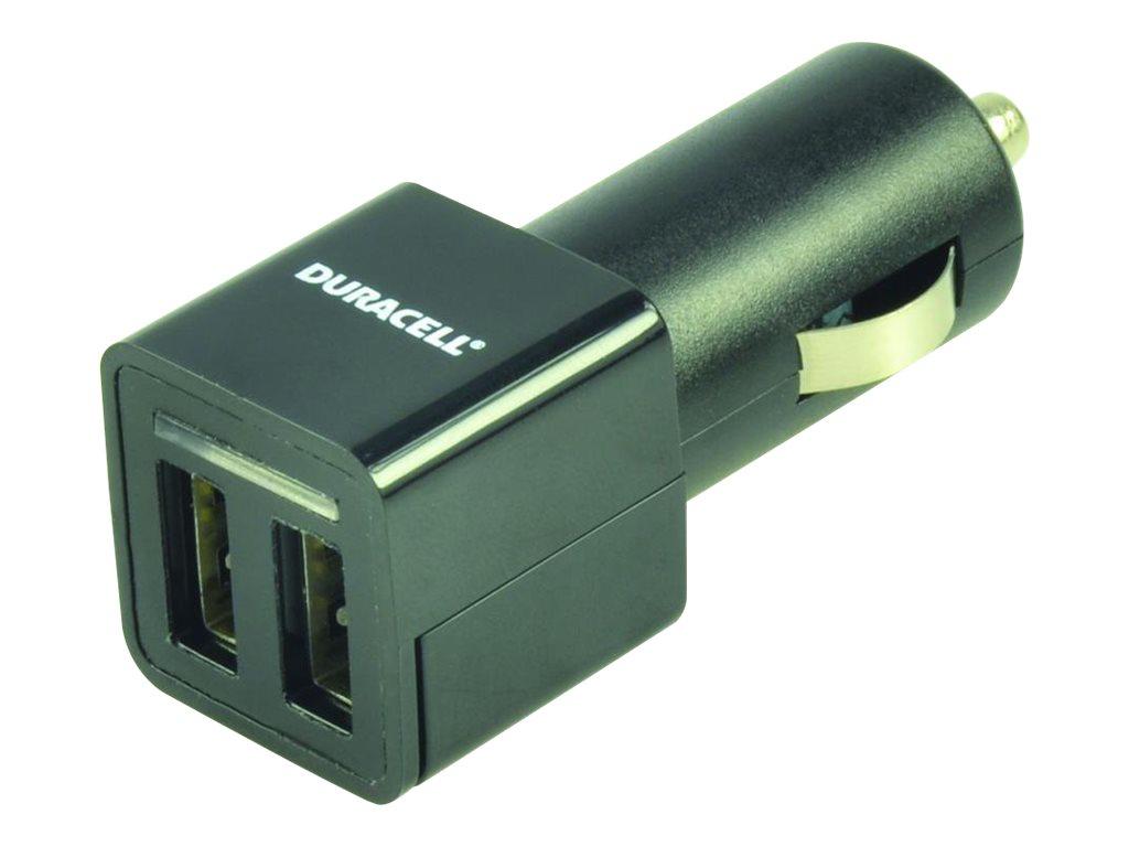 Duracell - Auto-Netzteil - 2.4 A - 2 Ausgabeanschlussstellen (USB) - Schwarz
