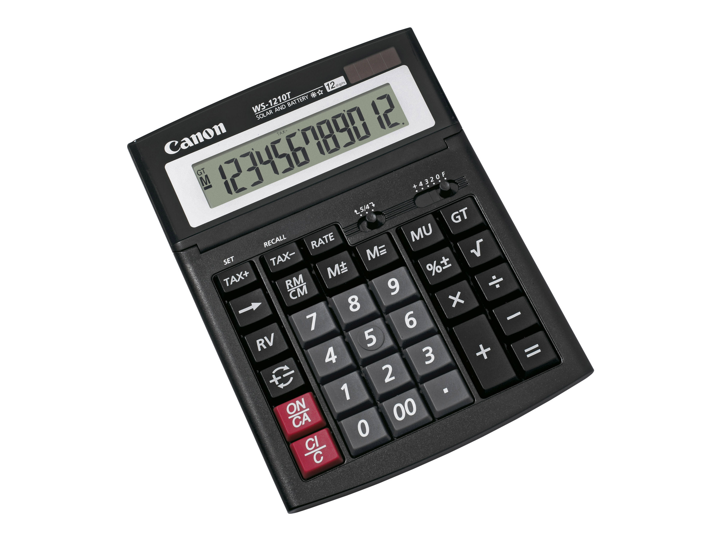 Canon WS-1210T - Desktop-Taschenrechner - 12 Stellen - Solarpanel, Batterie - Schwarz