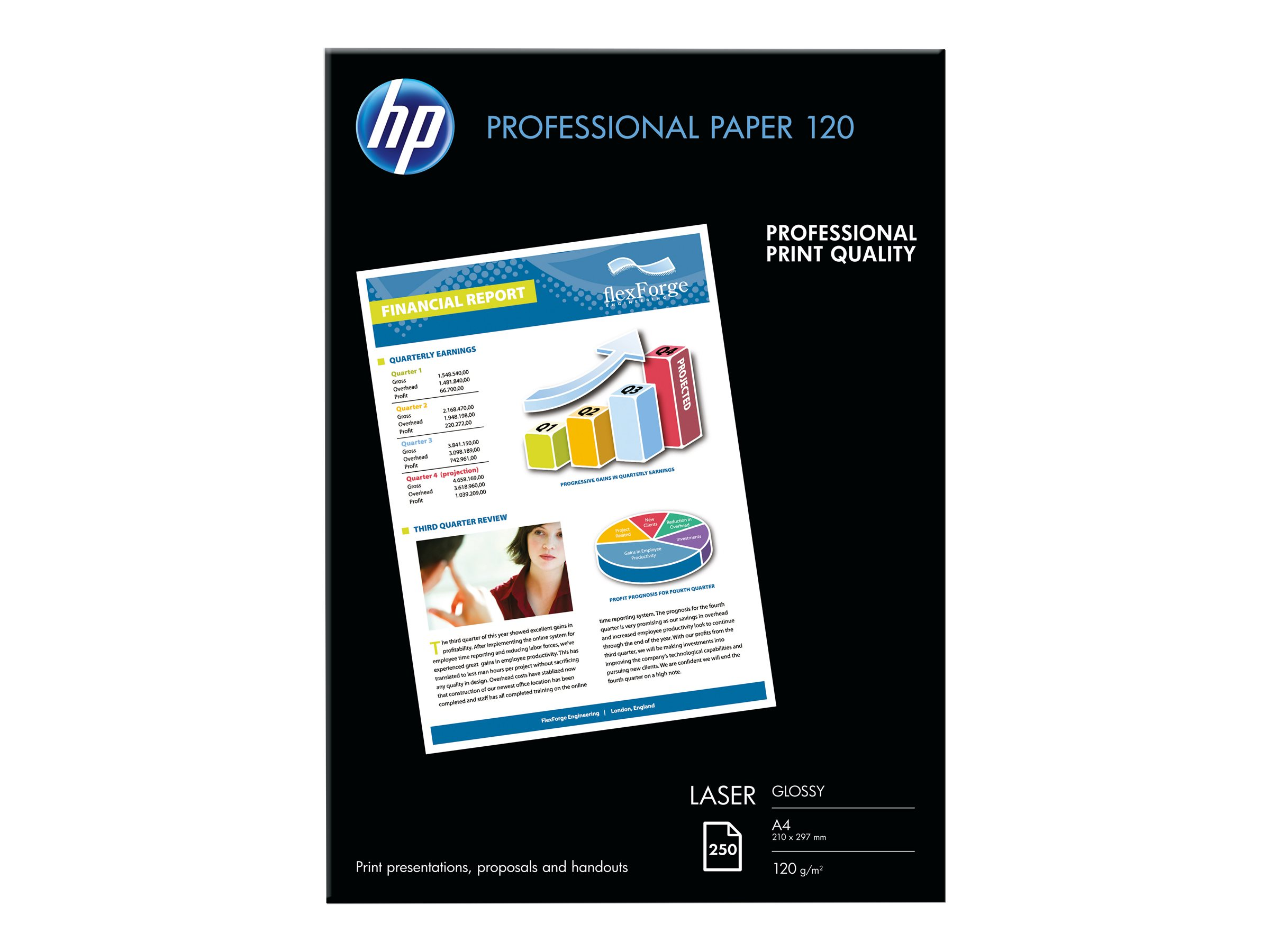 HP Professional Glossy Paper - Glänzend - A4 (210 x 297 mm) - 120 g/m² - 250 Blatt Fotopapier - für Laser MFP 13X; LaserJet MFP