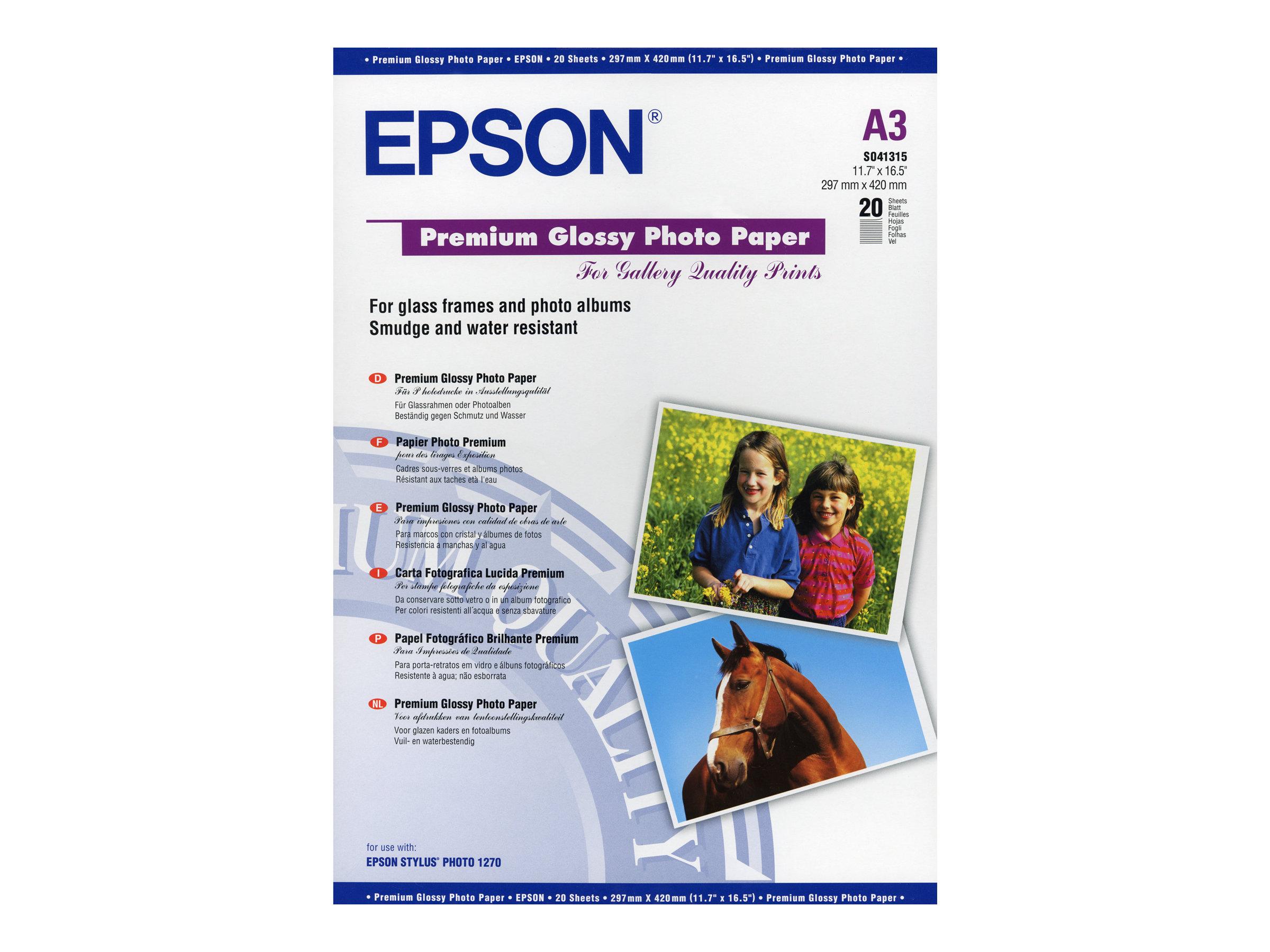 Epson Premium - Glänzend - A3 (297 x 420 mm) - 255 g/m² - 20 Blatt Fotopapier - für EcoTank ET-16500; Expression Photo XP-970; S