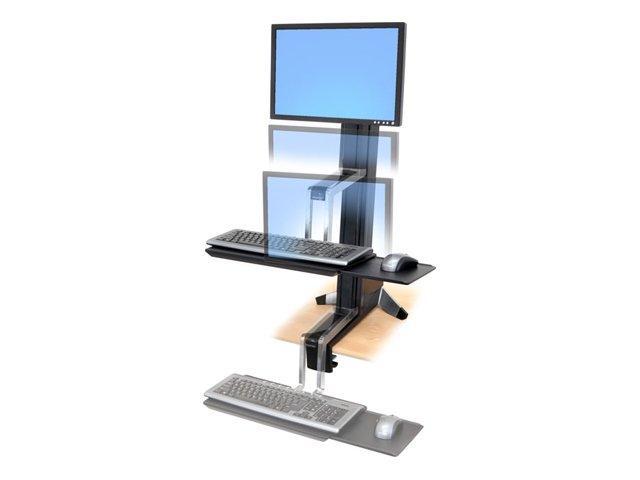 Ergotron WorkFit-S Single LD Sit-Stand Workstation Standing Desk - Aufstellung für LCD-Bildschirm/Tastatur/Maus - Aluminium, pul