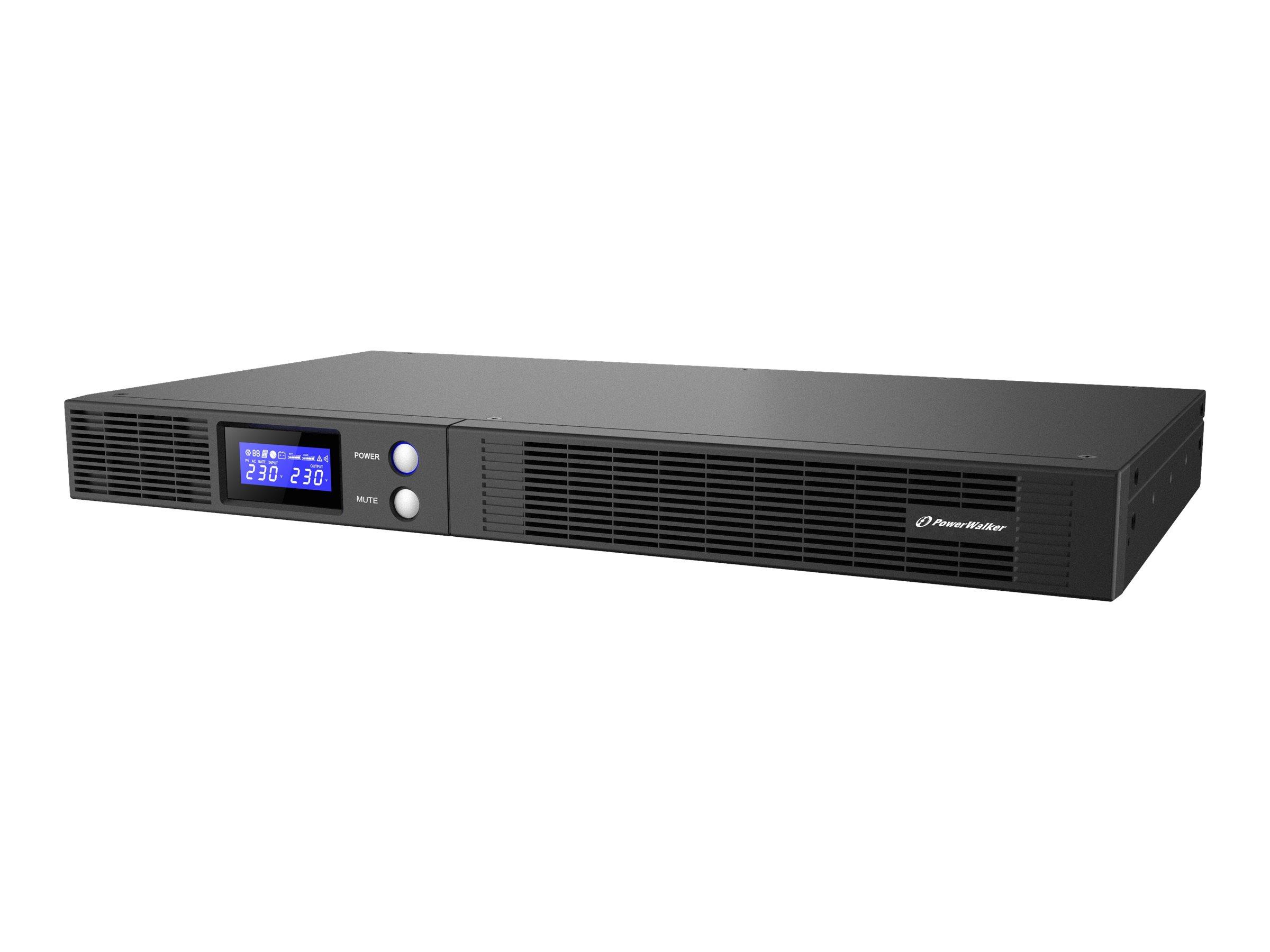 PowerWalker VI 1500 R1U - USV (Rack - einbaufähig) - Wechselstrom 230 V - 900 Watt - 1500 VA 9 Ah