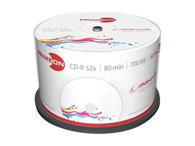 Primeon photo-on-disc - 50 x CD-R - 700 MB (80 Min) 52x - in Fotoqualität bedruckbare Oberfläche - Spindel