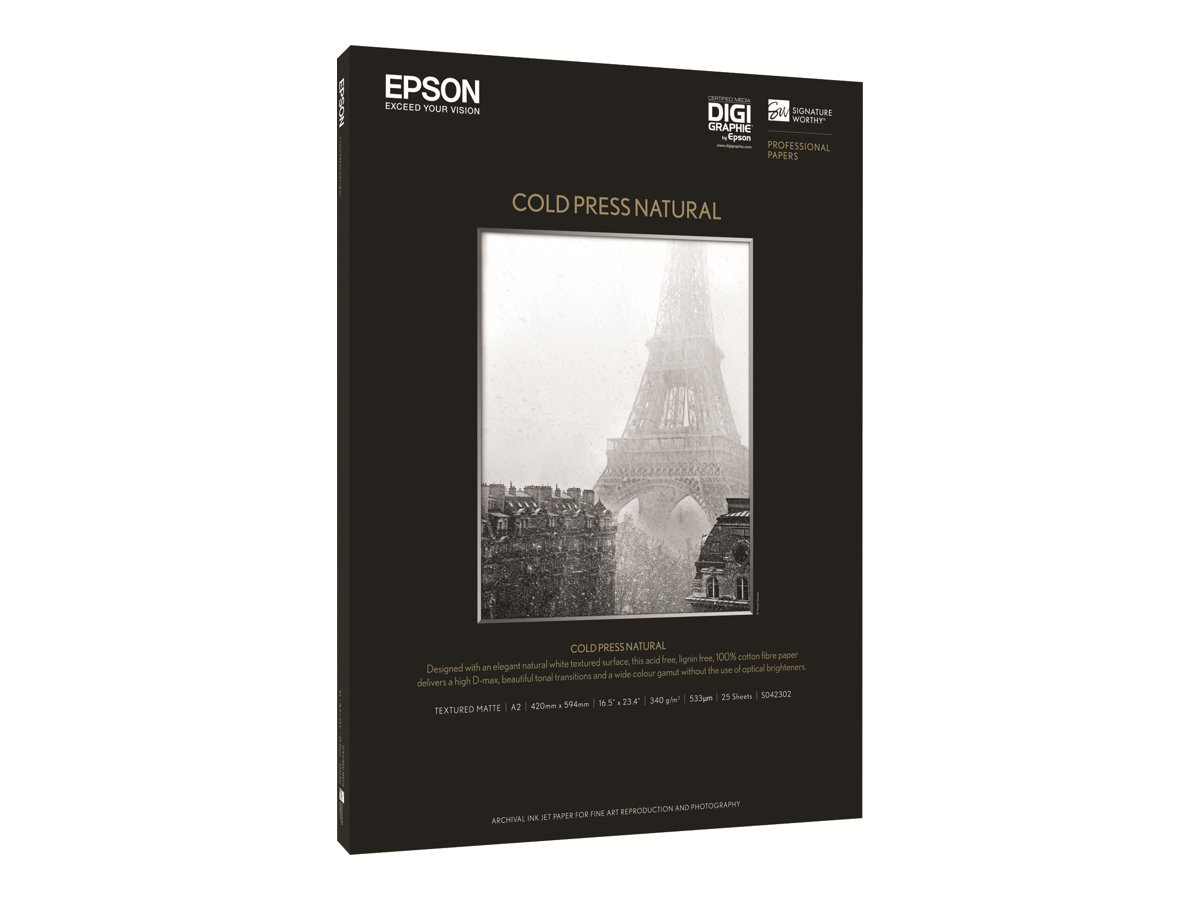 Epson Fine Art Cold Press Natural - Baumwolle - seidig - Natural White - A2 (420 x 594 mm) - 340 g/m²
