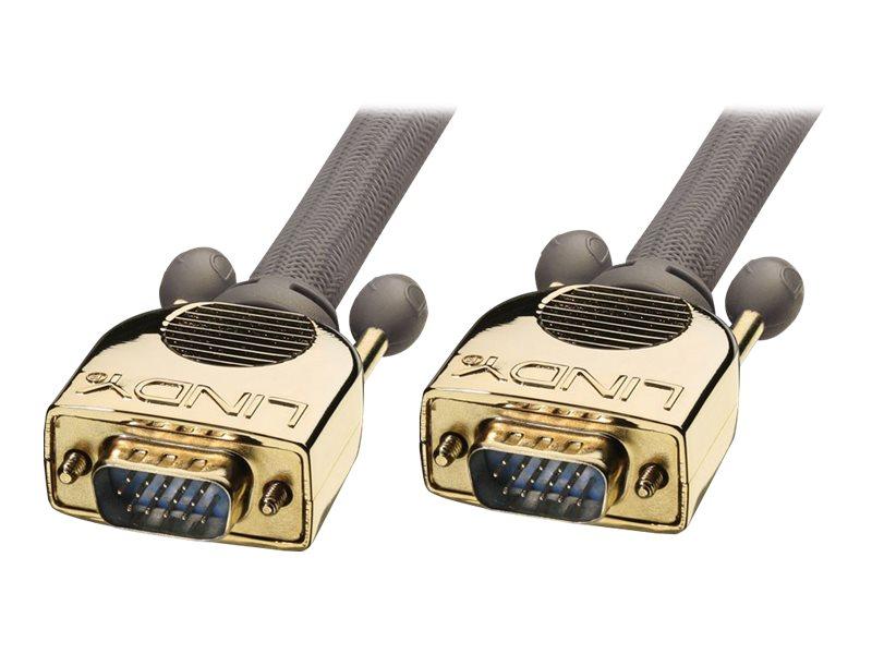 Lindy Premium Gold - VGA-Kabel - HD-15 (VGA) (M) bis HD-15 (VGA) (M) - 2 m - Daumenschrauben - Anthrazit