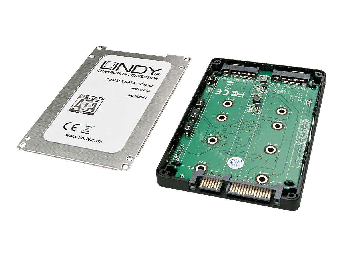 Lindy Dual M.2 SSD RAID Case, SATA 2,5