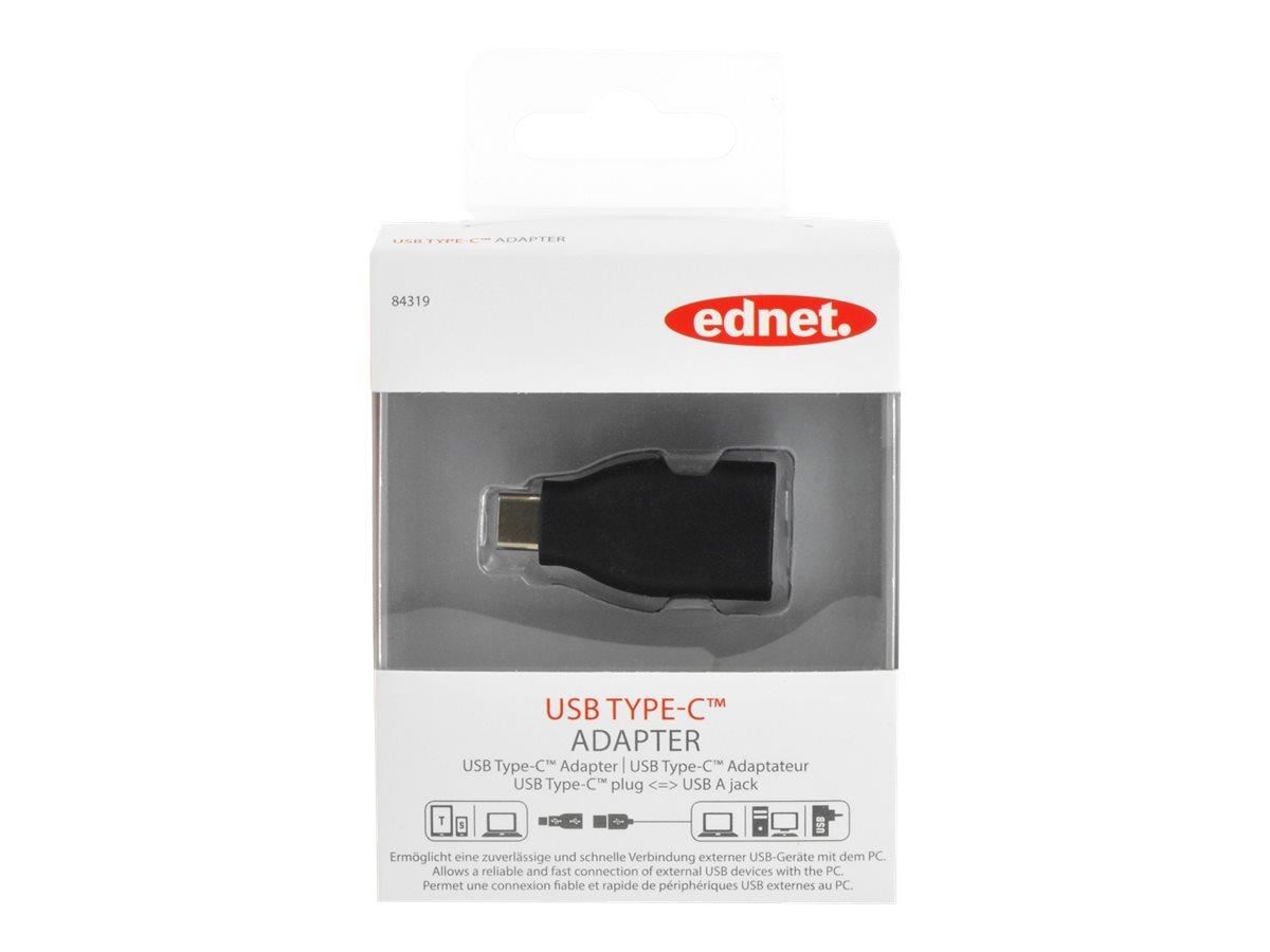 Ednet - USB-Adapter - USB Typ A (W) bis USB-C (M) - USB 3.1 - Schwarz