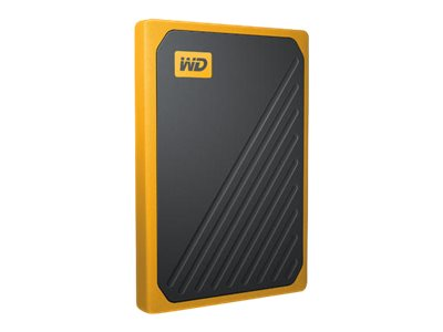 WD My Passport Go WDBMCG0010BYT - Solid-State-Disk - 1 TB - extern (tragbar) - USB 3.0 - Schwarz mit gelber Verzierung