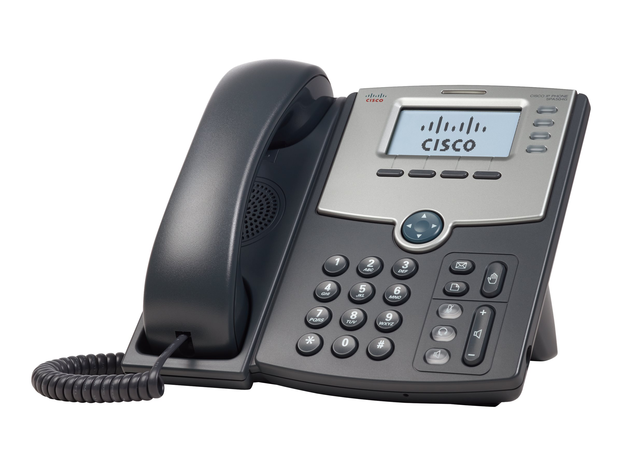 Cisco Small Business SPA 504G - VoIP-Telefon - SIP, SIP v2, SPCP - mehrere Leitungen - Silber, Dunkelgrau - für Small Business P