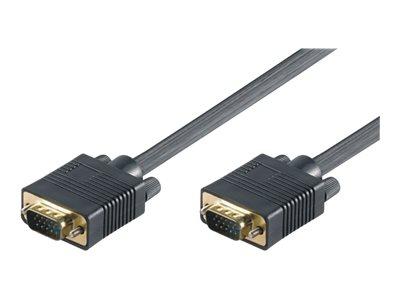 M-CAB - VGA-Kabel - HD-15 (VGA) (M) bis HD-15 (VGA) (M) - 80 cm - Daumenschrauben - Schwarz