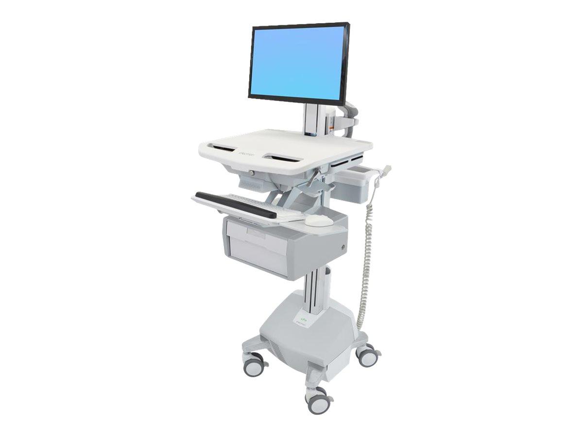 Ergotron Cart with LCD Pivot, LiFe Powered, 1 Tall Drawer - Wagen für LCD-Display/Tastatur/Maus/CPU/Notebook/Barcodescanner - ve
