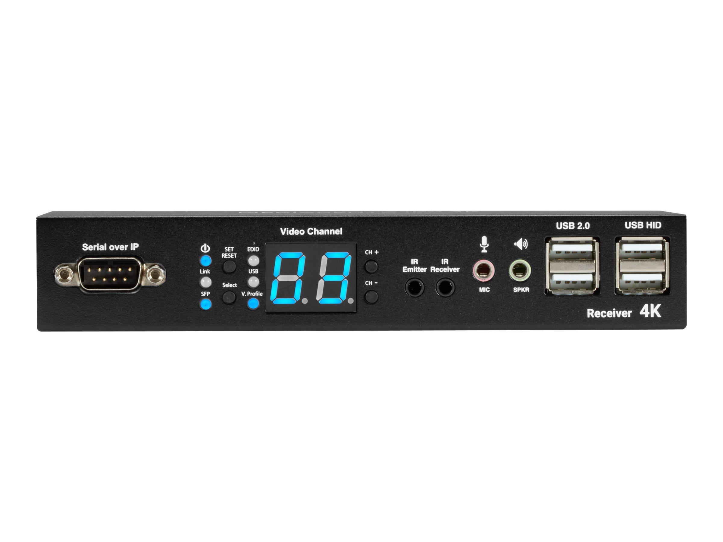 Black Box MediaCento IPX 4K Receiver - Video-/ Audio-/ Infrarot- /USB-/ serielle Erweiterung - GigE, Fibre Channel - USB - Glasf