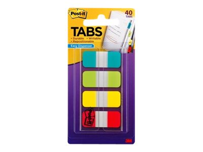 Post-it - Tab 40 Blatt (4 x 10) - Gelb, Rot, gelbgrün, aqua