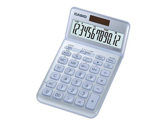 Casio JW-200SC - Desktop-Taschenrechner - 12 Stellen - Solarpanel, Batterie - Blau