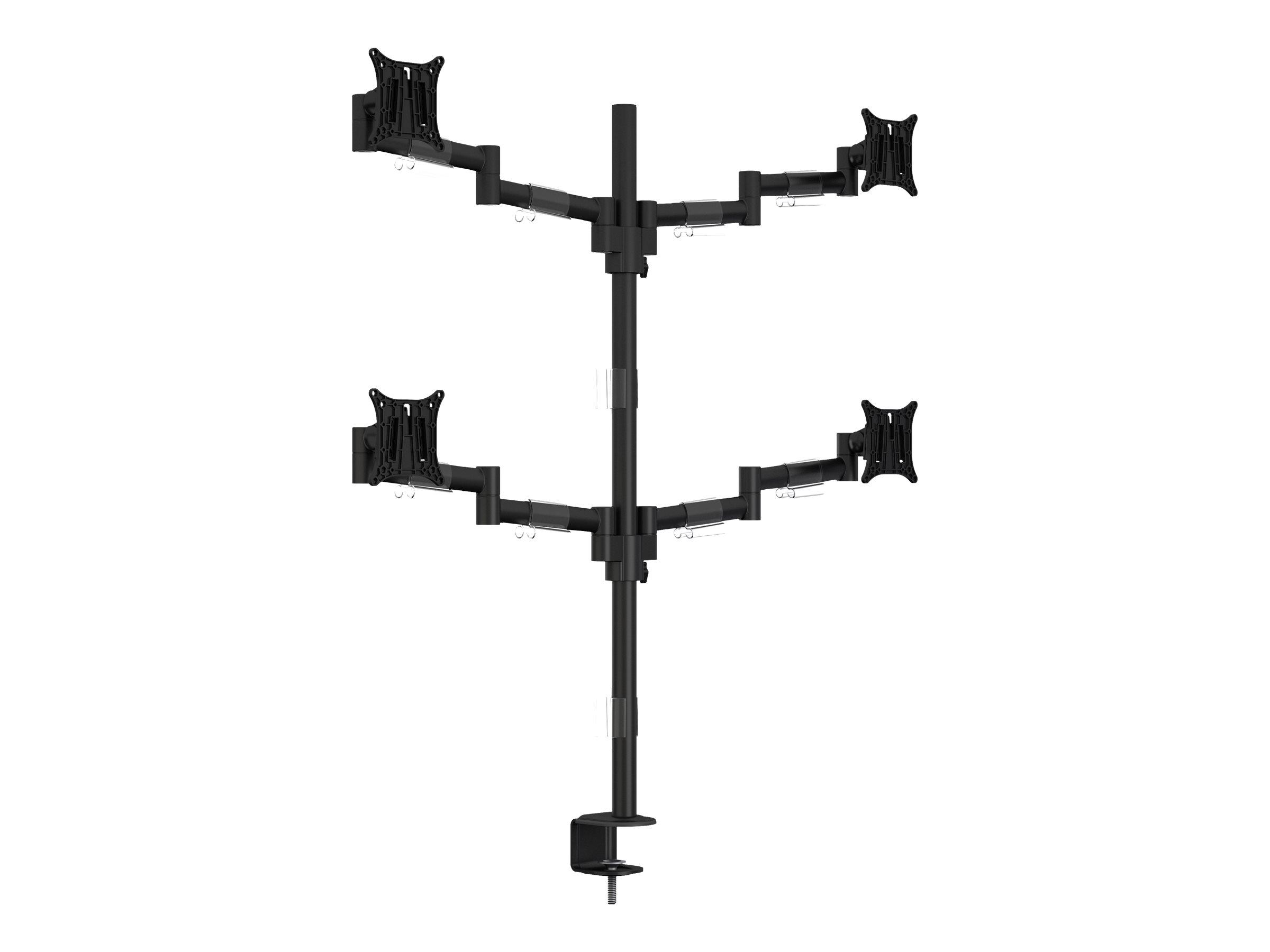 Multibrackets M VESA Deskmount Officeline Quad - Aufstellung für 4 LCD-Anzeigen (einstellbarer Arm) - Stahl - Schwarz - Bildschi