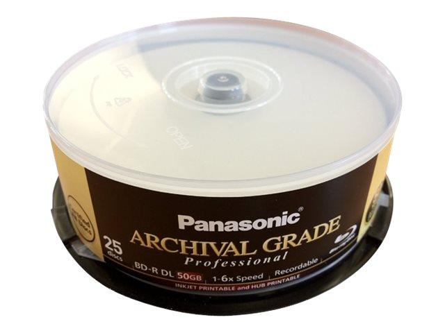 Panasonic ARCHIVAL GRADE Professional - 25 x BD-R - 50 GB 6x - mit Tintenstrahldrucker bedruckbare Oberfläche, Bedruckbarer Inne