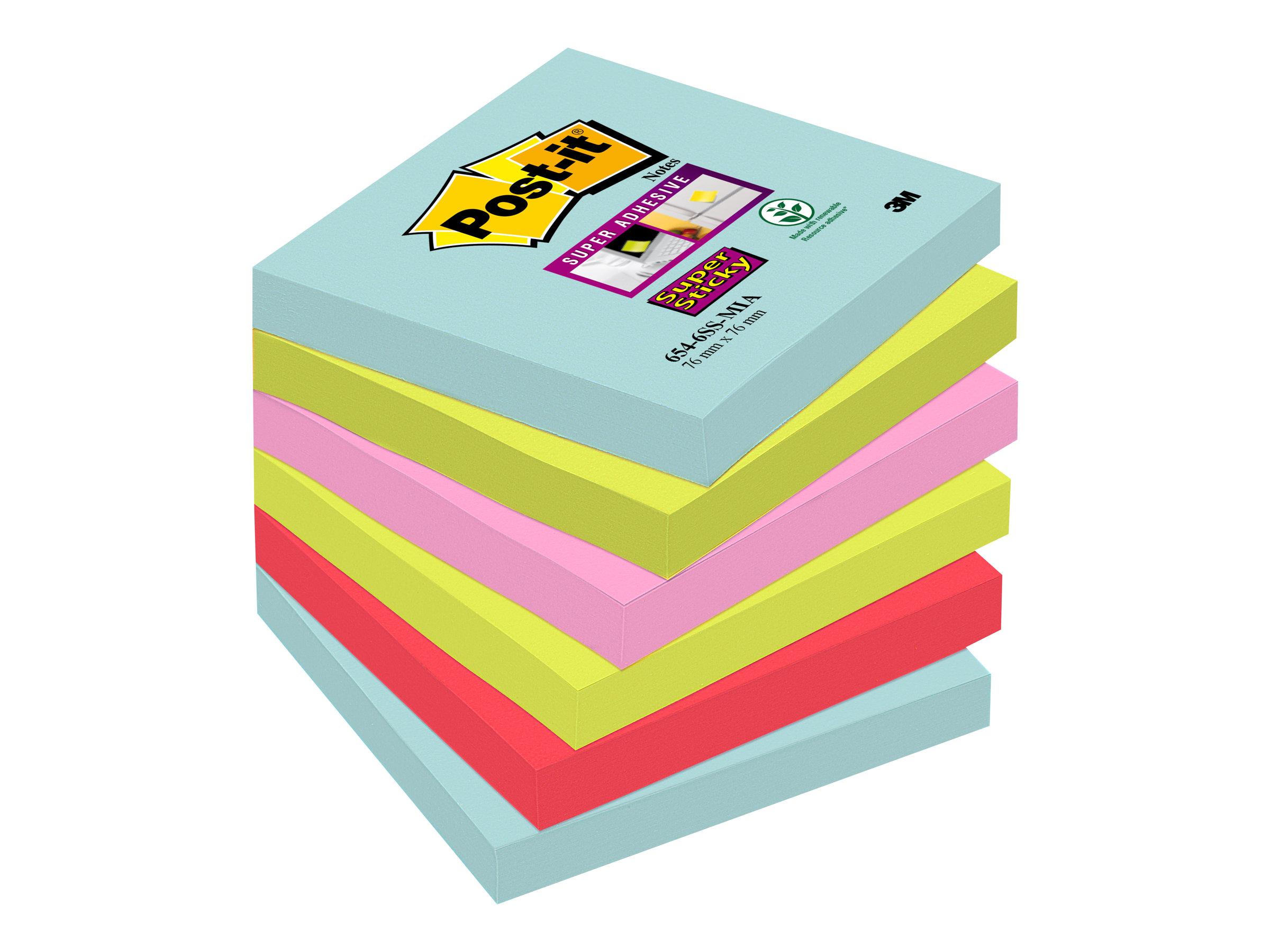 Post-it Super Sticky 6546SMI - Notizen - 76 x 76 mm - 540 Blatt (6 x 90) - Türkis, Neongrün, Neon-Pink, Poppy Red