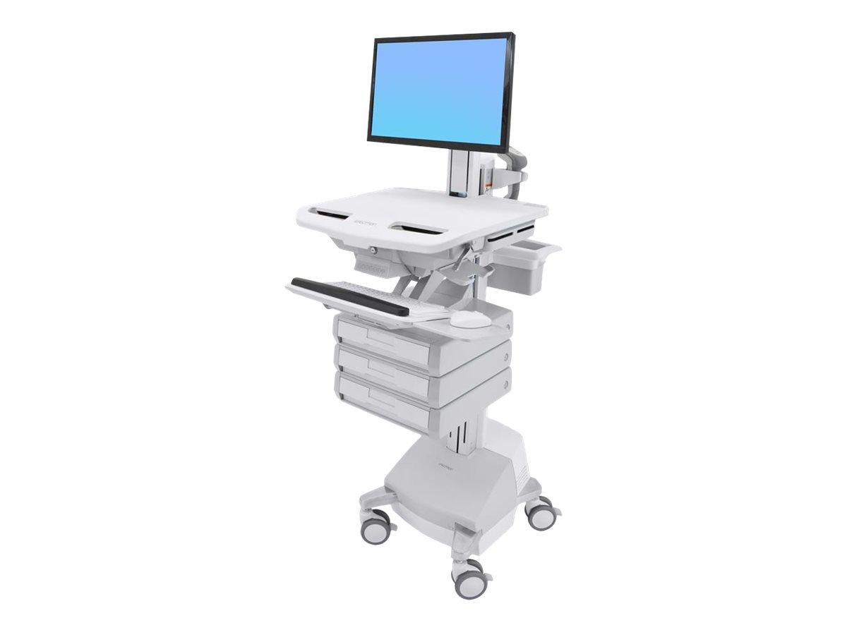 Ergotron Cart with LCD Pivot, SLA Powered, 3 Drawers - Wagen für LCD-Display/Tastatur/Maus/CPU/Notebook/Barcodescanner - verrieg