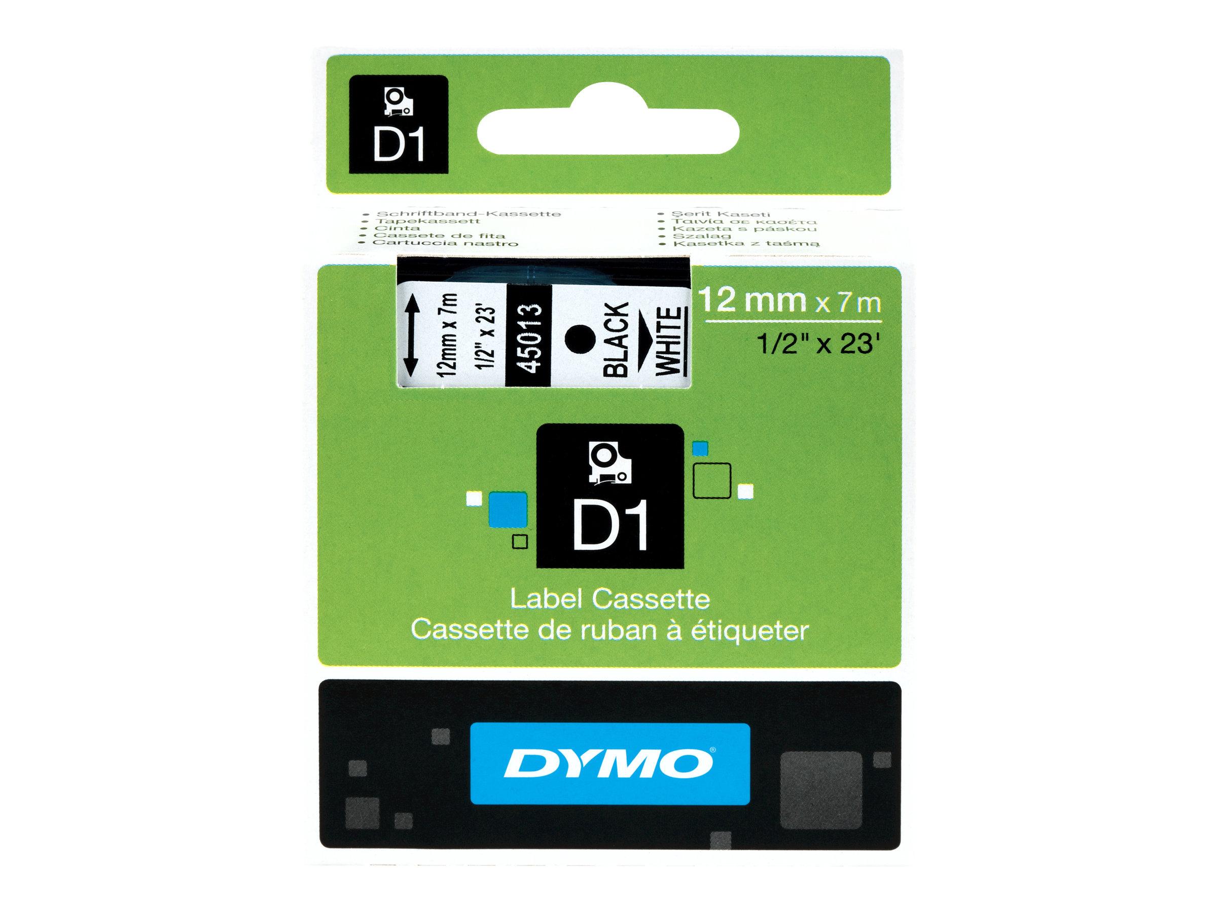 DYMO D1 - Selbstklebend - Weiss auf Schwarz - Rolle (1,2 cm x 7 m) 1 Rolle(n) Etikettenband - für LabelMANAGER 100, 160, 210, 22
