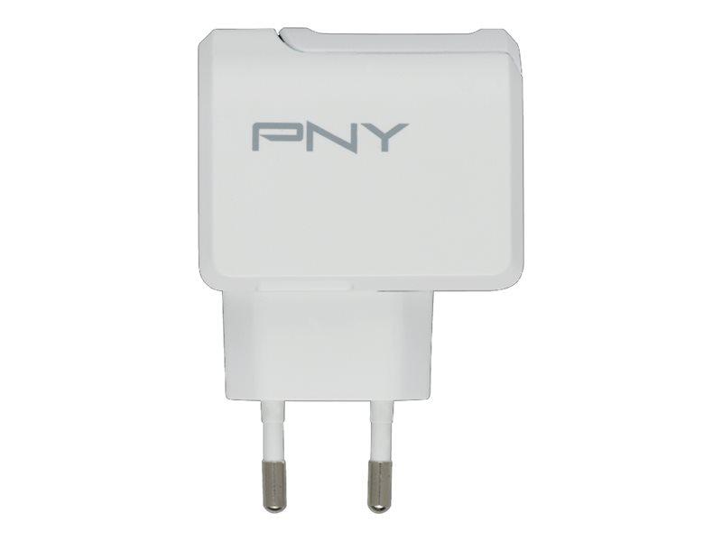 PNY - Netzteil - 12 Watt - 2.4 A (USB) - auf Kabel: USB-C