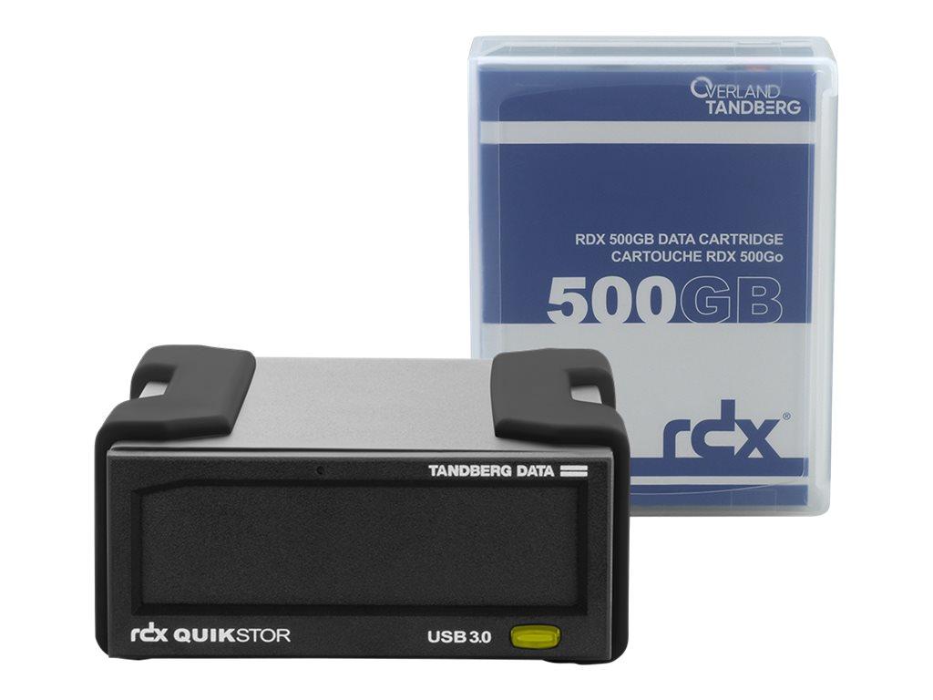 Overland Tandberg RDX QuikStor - Laufwerk - RDX - SuperSpeed USB 3.0 - extern - mit 500-GB-Kassette