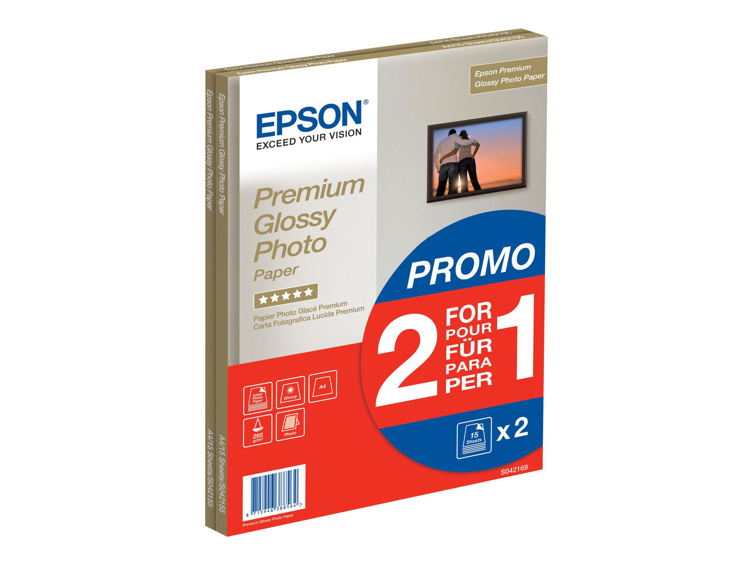 Epson Premium Glossy Photo Paper BOGOF - Glänzend - A4 (210 x 297 mm) - 255 g/m² - 15 Blatt Fotopapier (Packung mit 2) - für Eco