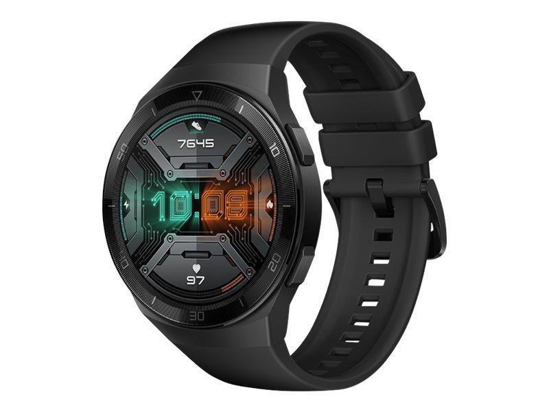 Huawei Watch GT 2e - Schwarzes Edelstahl - intelligente Uhr mit Riemen - Flouroelastomer - Graphitschwarz - Anzeige 3.5 cm (1.39