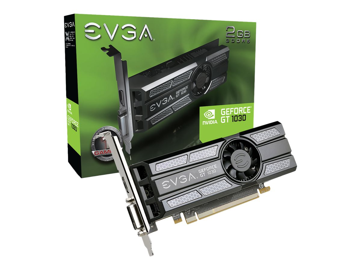 EVGA GeForce GT 1030 - Grafikkarten - GF GT 1030 - 2 GB GDDR5 - PCIe 3.0 x16 Low-Profile - DVI, HDMI