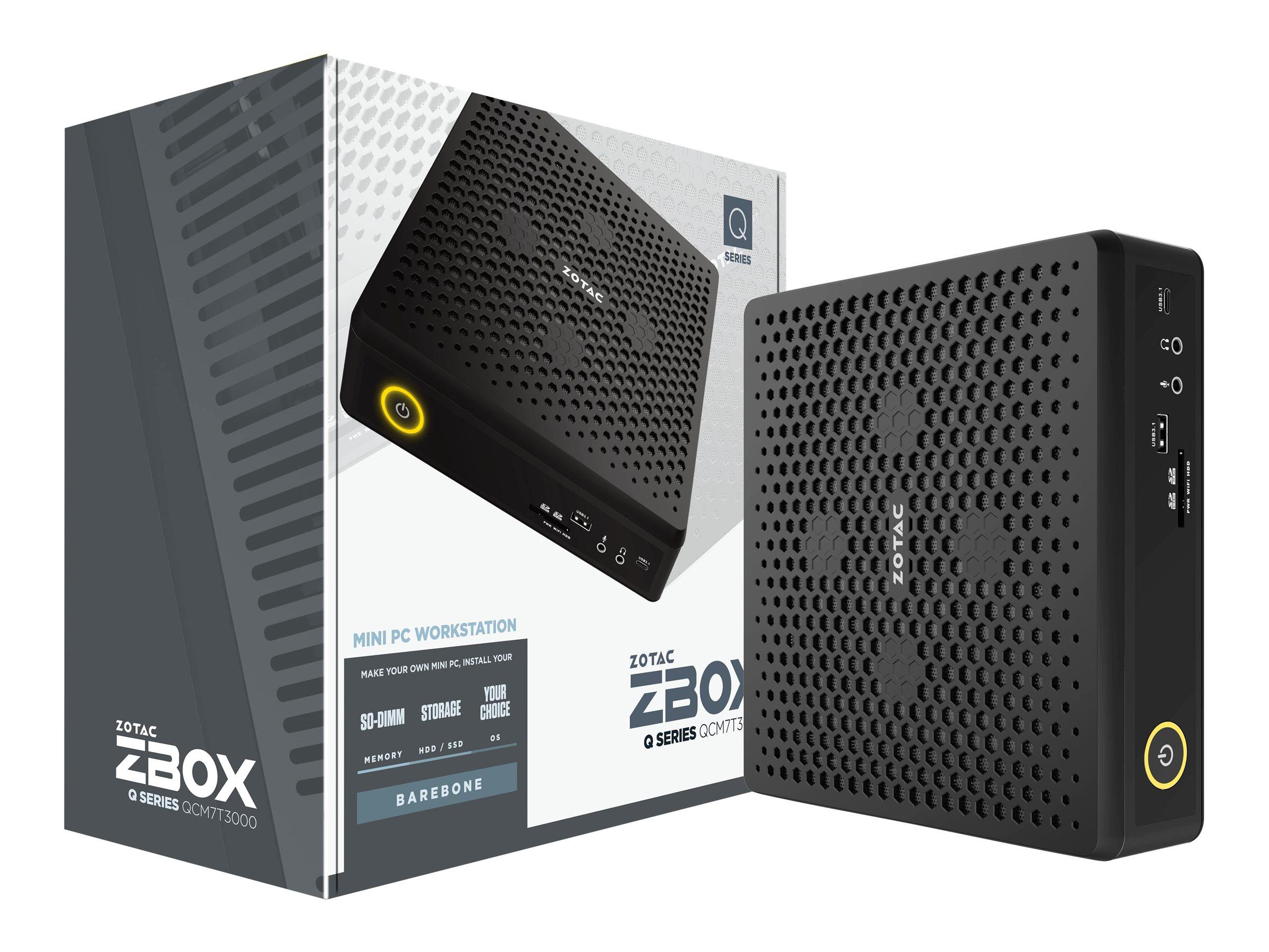 ZOTAC ZBOX Q Series QCM7T3000 - Barebone - Mini-PC - 1 x Core i7 10750H / 2.6 GHz - RAM 0 GB - Quadro RTX 3000