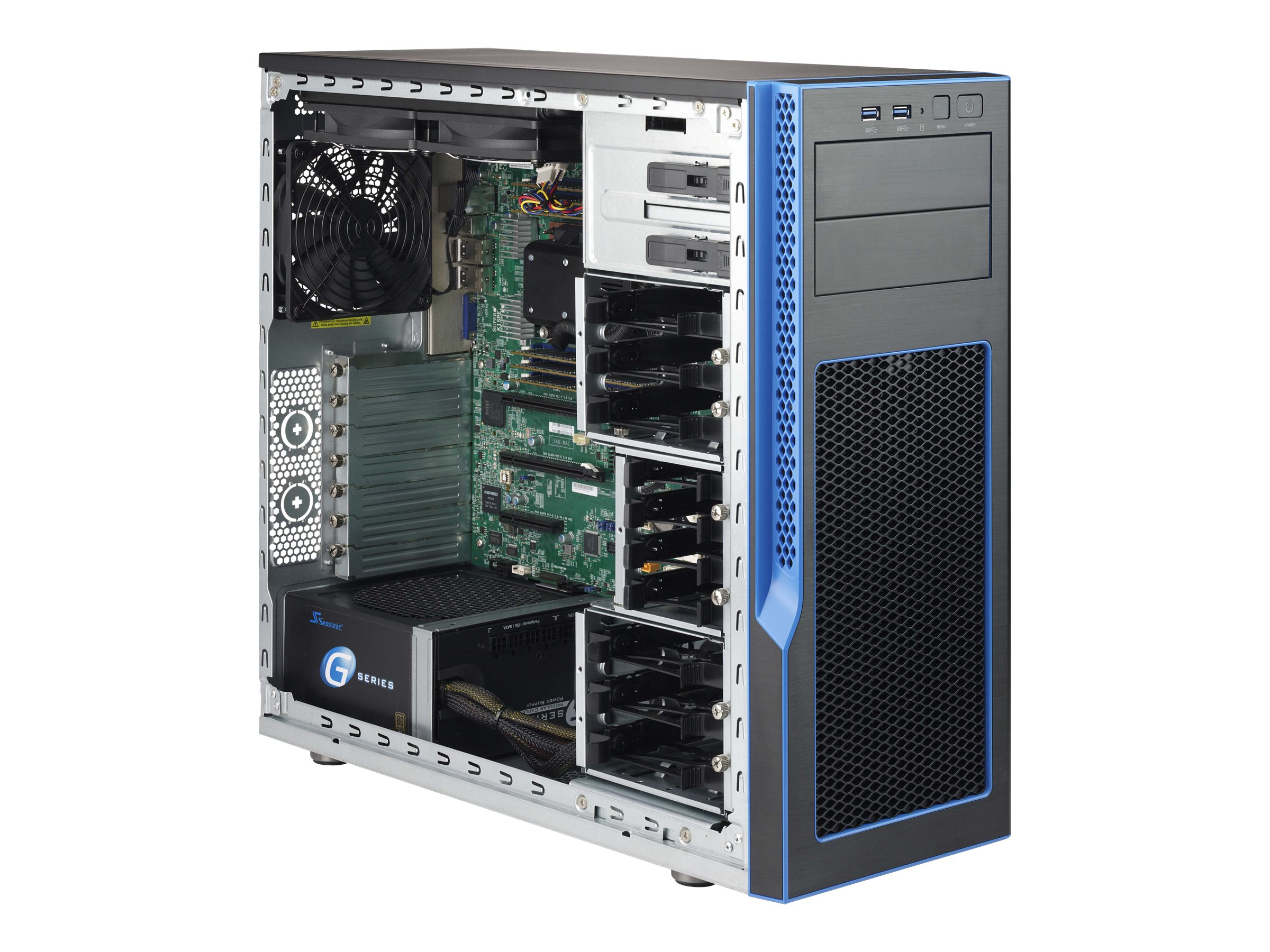 Supermicro CSE GS5A-753B - Tower - ATX 750 Watt (PS/2) - Grau, Schwarz - USB