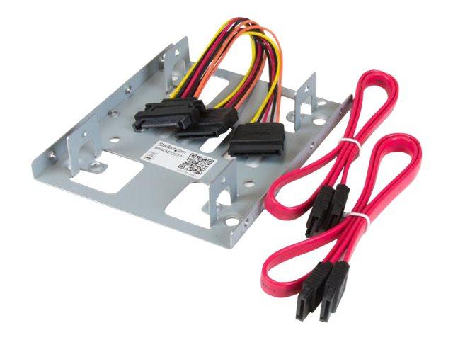 StarTech.com Dual 2,5 SATA Festplatten auf 3,5 Einbauschacht Halterung - 2-fach HDD/SSD Halterung mit SATA Strom- und Datenkabel