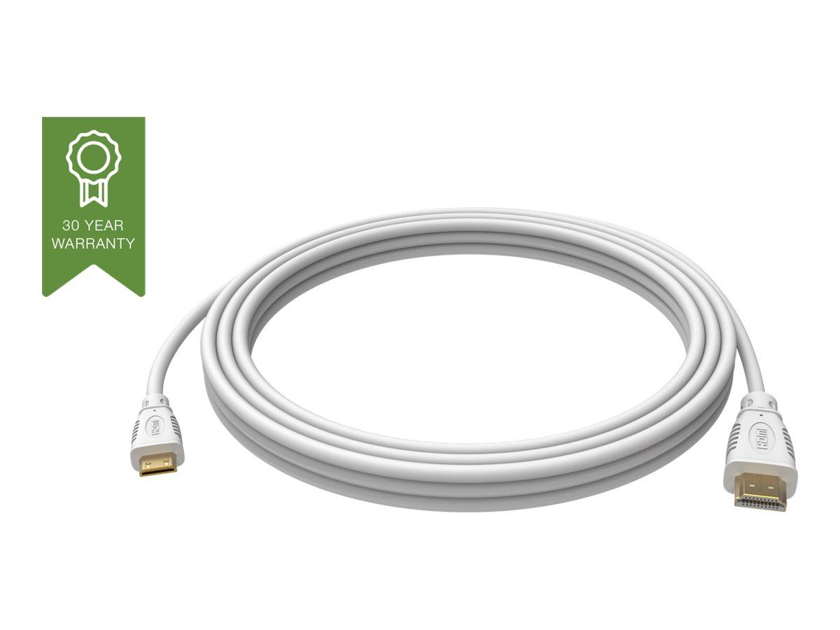 VISION Techconnect - HDMI mit Ethernetkabel - mini HDMI (M) bis HDMI (M) - 3 m - weiss - 4K Unterstützung
