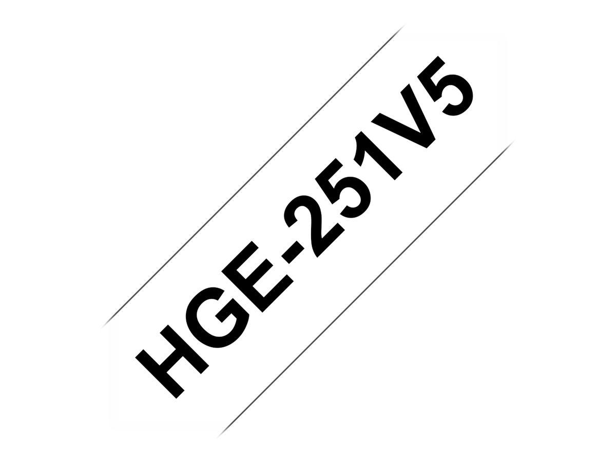 Brother HGE251V5 - Schwarz auf Weiss - Rolle (2,4 cm x 8 m) 5 Rolle(n) laminiertes Band - für P-Touch PT-9500pc, PT-9700PC, PT-9