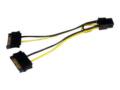 StarTech.com 15cm SATA Strom auf 6 pin PCI Express Grafikkarten Stromkabel - PCIe Y-Kabel Adapter - Stromkabel - SATA Leistung (