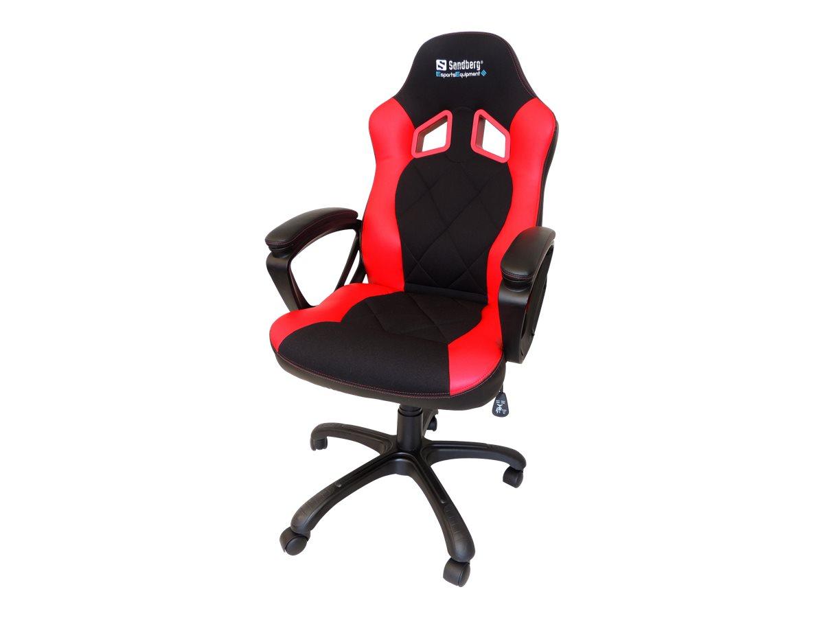 Sandberg Warrior - Gaming-Sessel - Armlehnen - ringförmig - Drehgelenk - Gewebe, Polyurethan-Kunstleder