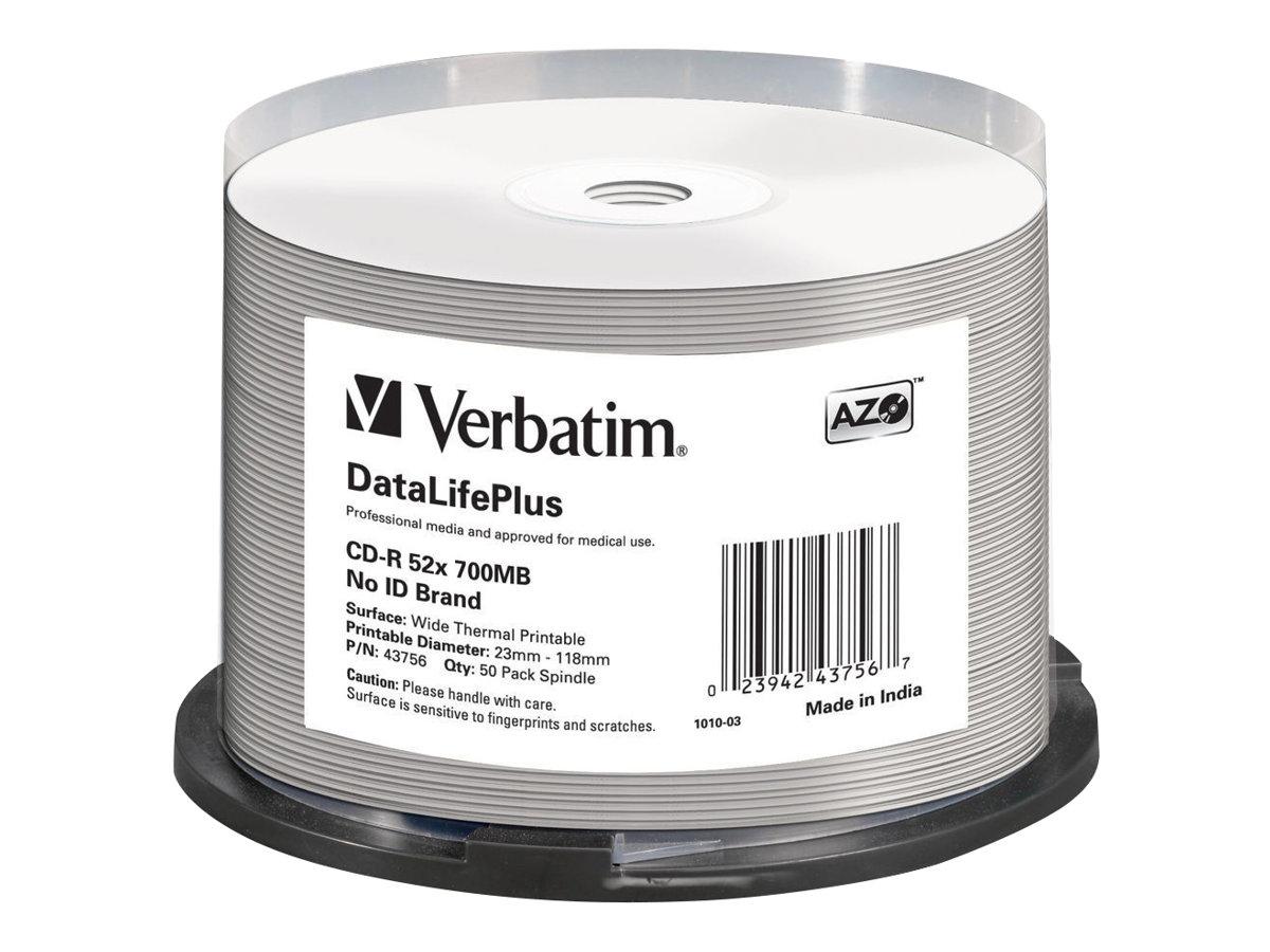 Verbatim DataLifePlus Professional - 50 x CD-R - 700 MB 52x - breite Thermodruckfläche - Spindel