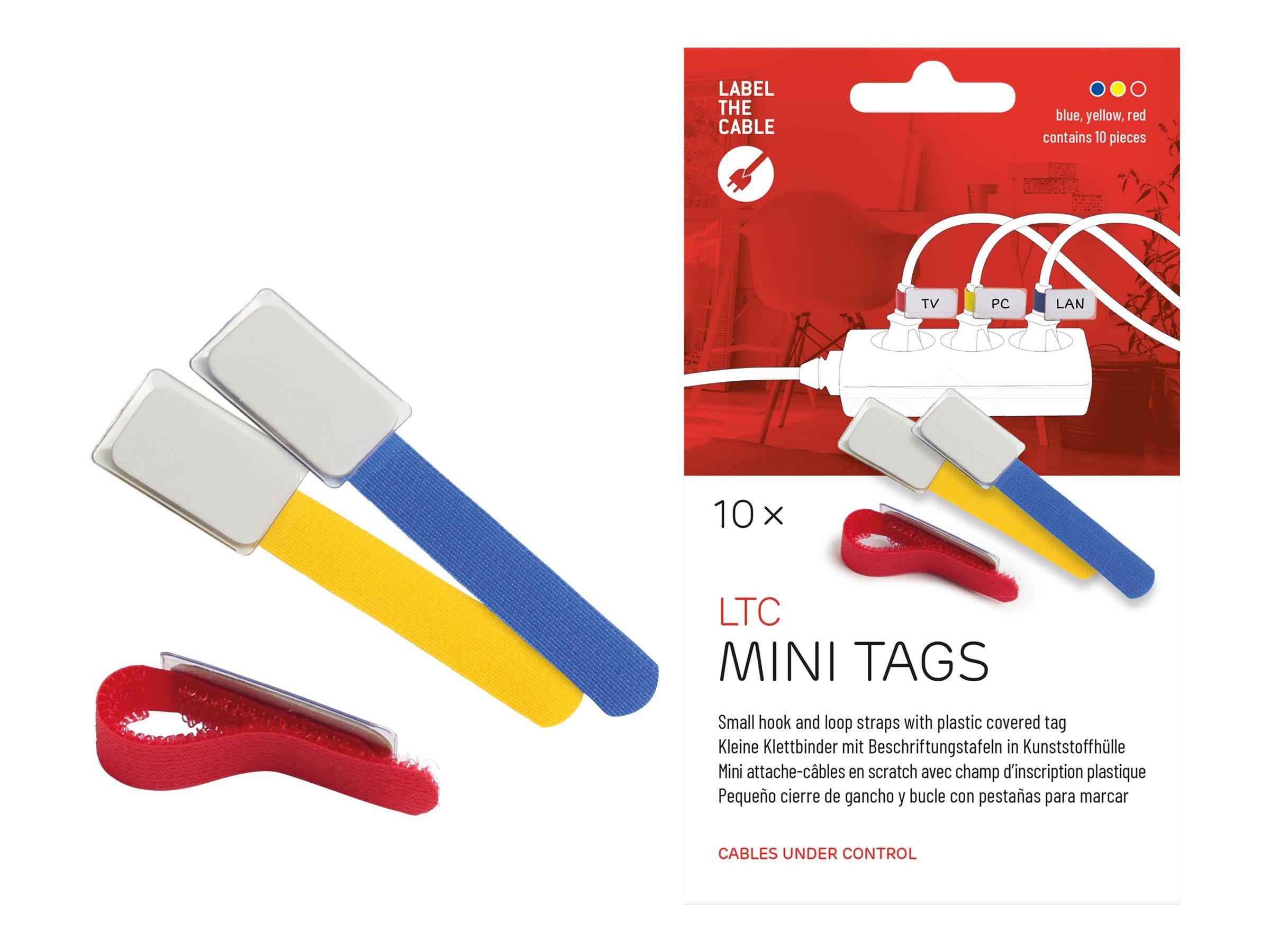 LTC MINI TAGS - Draht-/Kabel-Marker - 9 cm - Blau, Gelb, Rot (Packung mit 10)