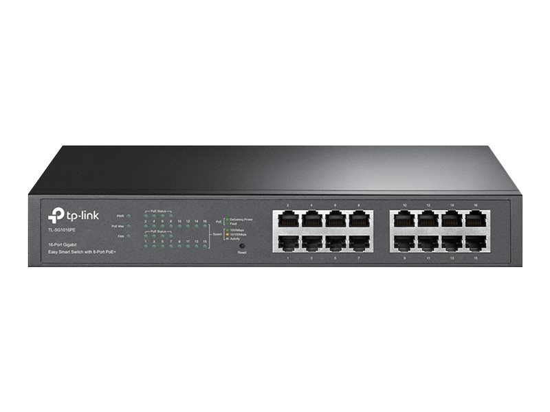 TP-Link Easy Smart TL-SG1016PE - Switch - Smart - 8 x 10/100/1000 (PoE+) + 8 x 10/100/1000 - Desktop, an Rack montierbar - PoE+